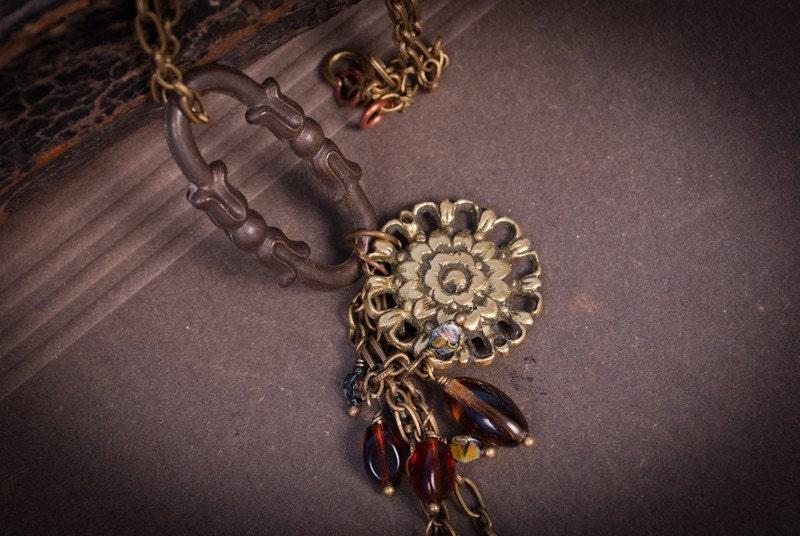 Brass floral medallion pendant. Handmade vintage assemblage necklace steampunk buy now online