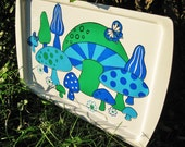 20 ANNIVERSARY SALE Vintage Mushroom Serving Tray Super Retro Hippie Green and Blue Trippy Mushrooms and Flowers