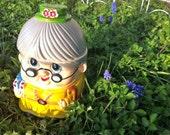 Granny Cookie Jar Ceramic Vintage Japan