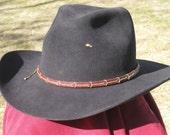western leather hand stitched hatband