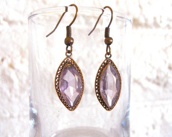 Earrings Purple Faceted Czech glass stone set in ornate gold tone filigree setting