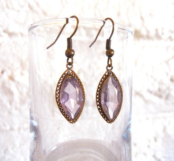 Earrings Purple Faceted Czech glass stone set in ornate gold tone filigree setting