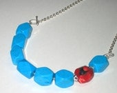 SALE Turquoise coral 925 sterling silver chain necklace