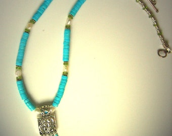 "SALE  necklace Turquoise Pearls Peridot Sterling Silver ""Tucson"" necklace set"