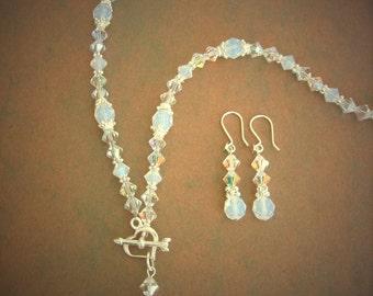 """SALE necklace Swarovski Crystal sterling silver  """"Adina"""" Necklace Set"""