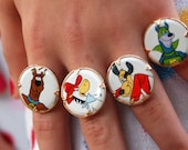 Your choice of ONE vintage Hanna Barbera 1970 Toy Novelty vending machine ring - wabiMYsabi