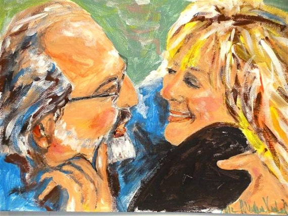 Valentines Custom Couple Portrait of  You and Your Valentine Original by Marlene Kurland  11 x 14 NFS Example