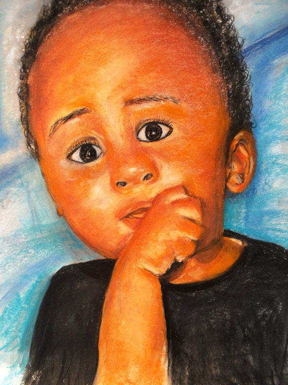 Reserved for Client...Original portrait of Precious Son  18x24