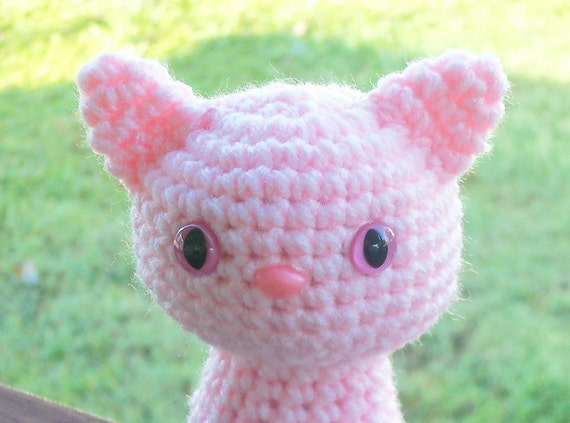 Purrfectly Pink Sitting Pretty Kitty - Baby Pink Cat with Safety Eyes and Safety Nose (Finished Doll)