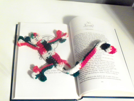 Squished Lizard Bookmark - Hand Crocheted Whimsical Bookmark - Red, White, and Green Multi