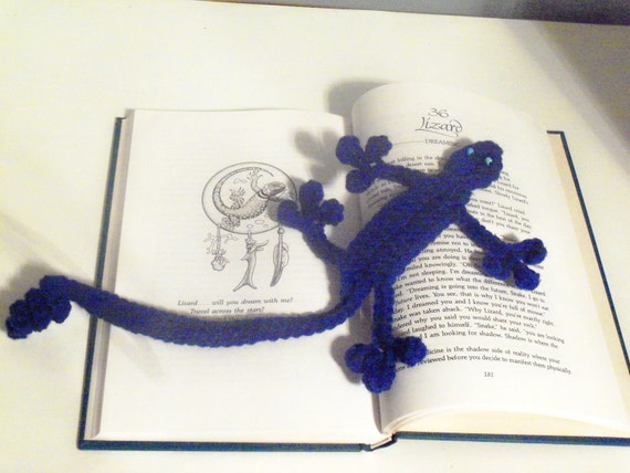 Squished Lizard Bookmark - Hand Crocheted Whimsical Bookmark - Sapphire Blue