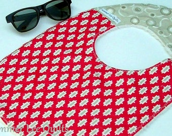 Baby to Toddler Girl Bib - Red and Grey Mod Bib - One of a Kind - Ready to Ship