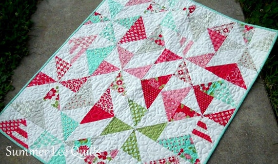 Modern Baby Girl Quilt - Vintage Modern Quilt - Baby Quilt in Red, Pink, Aqua, Green, and Grey - One of a Kind - Ready to Ship