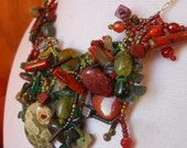 Green and Red Gemstone, Sterling Silver Necklace