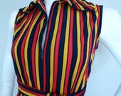 on the straight and narrow- long stripe vintage dress - sz small