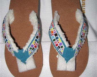 Flip Flops...Beaded...Turqouise..Medium...Hand Made ...One Of A Kind..Never To Be Duplicated
