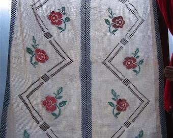 Vintage Hand Crocheted Ramblin Rose Trellis Double Pane Curtain...number 2