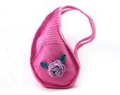 Crochet Teardrop Handbag Honeysuckle Pink Purse Unique Bag Stylish Summer Purse Women's Cotton Bag - CB0017 - Aimarro