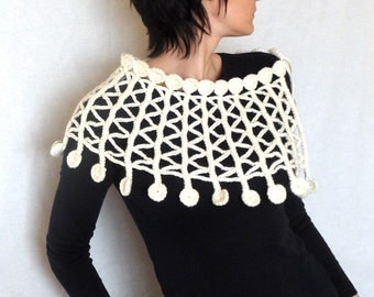 White Crochet Capelet Lacy Poncho White Zig Zag Open Cape Lace Cape for Women Twist and Shout - CP0006 - Aimarro