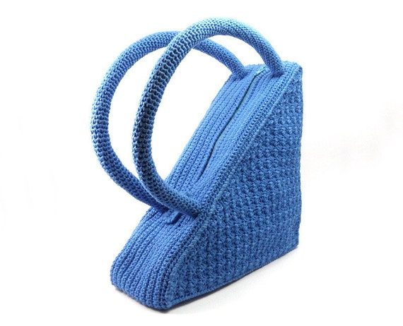 Crochet Triangle Bag, Unique Blue Handbag, Trendy Women's Cotton Purse Summer Fashion Bag - CB0015 - Aimarro