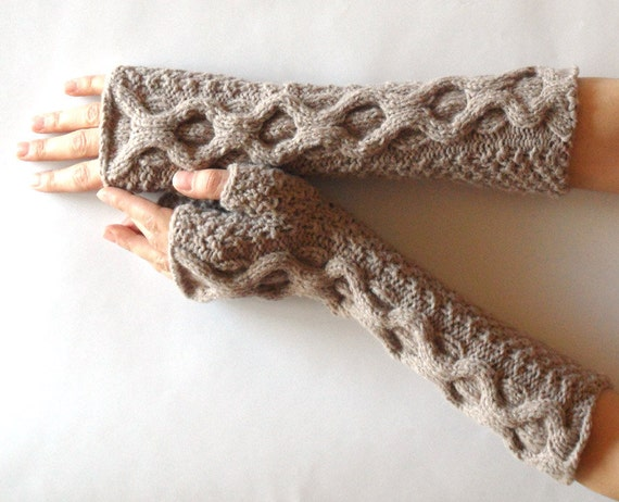 Fingerless Gloves Cable Long Knit Cashmere Wool Warm Winter Arm Warmers Women Hand Warmers Dusty Rose MADE TO ORDER - KG0017