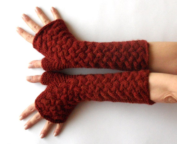 Fingerless Gloves Long Cable Arm Warmers Knit Cashmere Wool Hand Warmers Winter Cranberry Red Warm Women's Gloves - KG0019 - Aimarro