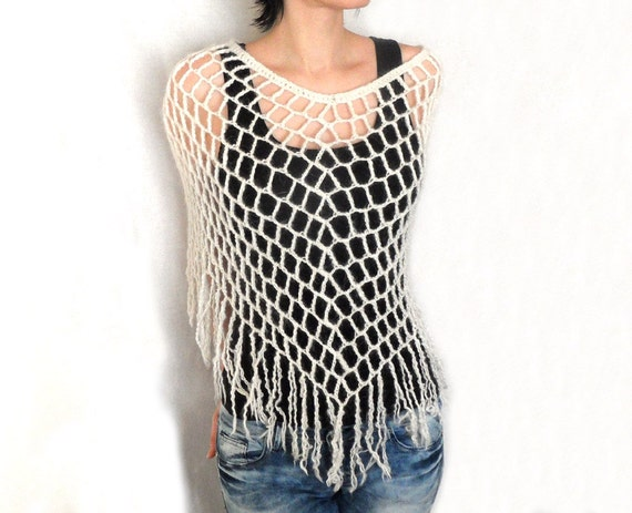Lace Crochet Poncho Mohair Spiderweb Capelet Lacy Fringed Wrap White Spring Capelet Women's Poncho Spider Web Poncho MADE TO ORDER - CP0009