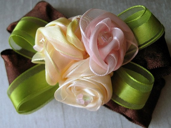 Elegant Cream Yellow and Pink Roses Hair Bow Clip