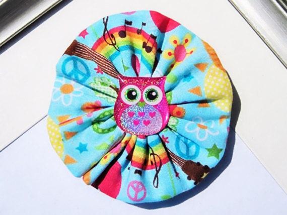 Groovy Owl Hair Bow Clip French Barrette Handmade