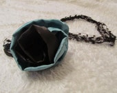 Easter Sale Turquoise Satin Flower Yarn Necklace in Chocolate Brown
