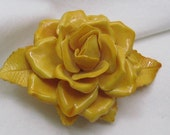 RESERVED for ELSA  Vintage Amazing Golden Yellow Rose Pin Forever Flower Brooch.  The Yellow Rose of Texas and Everywhere Else!