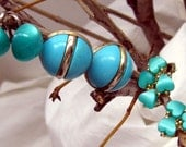"50% off sale!3 Pairs of Amazing Aqua or Turquoise  Earrings Including Sarah Coventry  ""Holiday"" & Moonglow Lucite Wear or Upcycle"