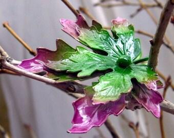 Vintage Incredible Purple & Green Enamel Maple Leaf Pin