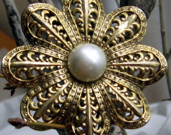 Vintage  Antique Styled Large Golden Flower Pin with a Pearly Cabochon Center