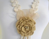 ivory Crocheted Lariat Necklace,Holiday Accessories,Christmas,Halloween,gift
