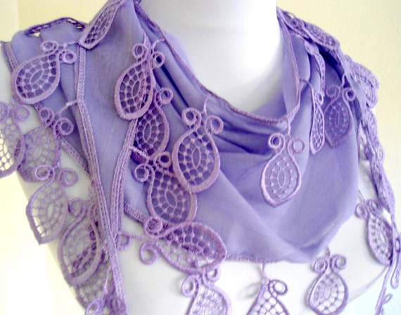 Lavender  Special Fashion Lace Shawl /Scarf ivory Lace Trimming combines together,feminine,autumn
