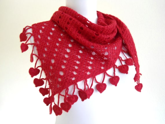 Mothers day, scarf,hand-knitted,fashion,gift, spring, Women,shawl, Red