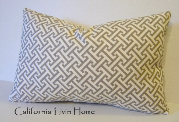 "CUSTOM LISTING for NATALIE / 5-Greek Maze Lumbar Pillow Covers / 12"" x 18"" /  Geometric Charcoal / Cotton / Hidden Zipper Closure"