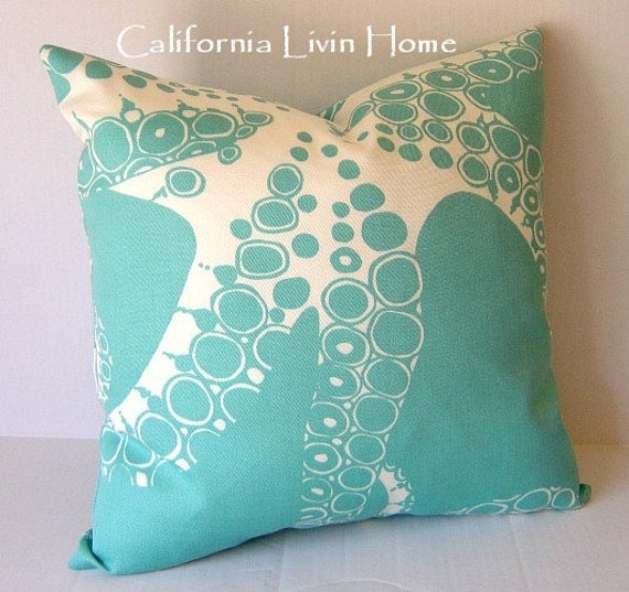 COASTAL OCTOPUS Pillow Cover / 20x20 /  Outdoor Fabric / Turquoise / Decorative Pillow / Accent Pillow