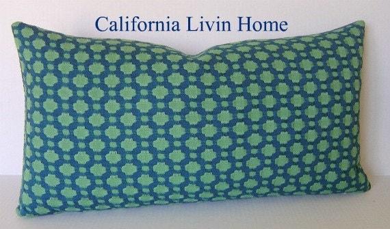 """F SCHUMACHER BETWIXT Lumbar Pillow Cover / Seaglass / 12"""" x 22"""" / Hidden Zipper Closure / Designer Fabric / Decorative Pillow"""
