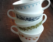 4 coordinating mismatched Corelle & Pyrex mugs for coffee, tea, soup, or snacks