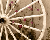 Framed Rustic Sepia Wagon Wheel Photo 8x10 - USPS PRIORITY SHIPPING included in price