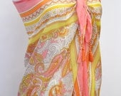 Paisley & Tassels Large Sarong Beach Wrap Pool Cover Up Scarf Shawl Summer Pareo Resort