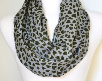 SALE 9.99  Happy Hearts Infinity Loop Circle Eternity Circle Scarf Cotton Olive or Camel Women's Scarves, Infinity Scarf Cotton Circle Scarf