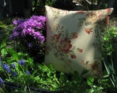 SALE!!! Floral Checkered Decorative  Pillow  16 x 16   Pillow Cover/ Handmade in the USA!