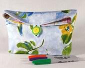 Pouch/ Purse/ Makeup Bag/ Cotton Button Clutch/ Robert Allen Fabric/ Ready To Ship