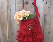 SALE! Ready To Ship! Red Burlap Tote Bag  Three Roses Two Ruffles