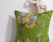 Linen Pillow Green with Blue and Yellow Floral Print