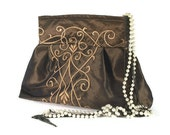 SALE!!! Clutch Stunning Brown - Gold Embroidered Purse Exclusive Taffeta Pouch HANDMADE in the USA