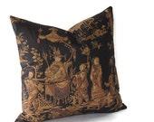 Designer Pillow Black Brown Asian Print Schumacher Fabric